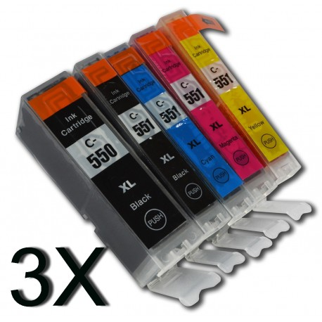 Canon PGI550 / CLI551 XL (Lot de 3 sets de 5 cartouches)