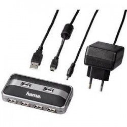 Hama Usb Hub 1:7+Power Adapter/ Box