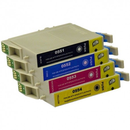 Pour EPSON T 0551-T 0554 ( T 0555 ) (Set complet de 4 cartouches)